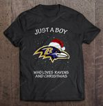 Just A Boy Who Loves Ravens And Christmas Football T Shirt