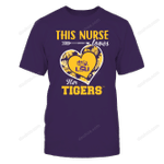 LSU Tigers - This Nurse - Loves Her Team - Heart Foliage LSU Tigers T Shirt