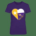 LSU Tigers - State Flag Heart Shape - Texas LSU Tigers T Shirt