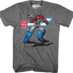 Action Pose Optimus Prime Transformers T-Shirt 80S CARTOON T Shirt
