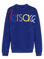 Versace Blue Logo Embroidered Sweater