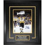 """Penguins Crosby Signed """"Raising 2107 Stanley Cup"""" 16x20 Photo Framed"""