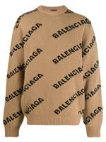 Balenciaga Beige Logo Knitted Wool Jumper FW19