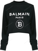 Balmain Logo-Print Cropped Sweatshirt SS20
