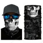 Face Mask and Neck Warmer with Dust and Sun UV Protection (Skull Grey)
