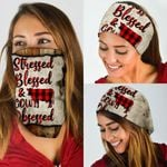 Stressed, Blessed, Cow Obsessed Red Plaid Bandana Mask DDH1254