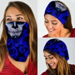 Sugar Kull And Blue Roses Bandana Mask DBX1263