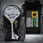 Jeep Sun Flowers Us Flag Fleece Zip Hoodie