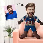 FACE PILLOW CUSTOM BODY PILLOW PERSONALIZED BEST GIFT CAPTAIN AMERICA