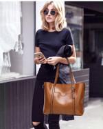 Aria - Luxury Oil Waxed Leather Tote Handbag