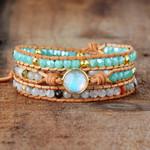 Clear Quartz & Opal Rhinestone Wrap Bracelet