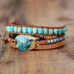 Turquoise & Jasper Healing Wrap Bracelet