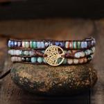Tree of Life With Mixed Stones Vegan Wrap Bracelet