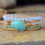 Intense Amazonite Wrap Bracelet
