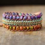 Bohemian Woven Mixed Jasper Wrap Bracelet