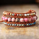 Bohemian Pink Rhodonite Wrap Bracelet