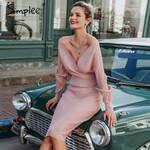 V-neck women knitted skirt suits