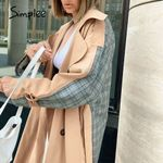 Casual lapel women trench coat