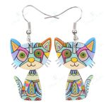 Cat Acrylic Earrings Big Long Dangle Earring Fashion Jewelry For Women Girl New Style Cute Animal Accessories