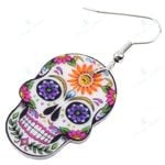 Dangle Drop Halloween Skeleton Skull Earrings Big Long Punk Fashion Jewelry For Girls Women Ladies  Wholesale