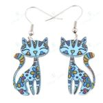 Statement Acrylic Floral Kitten Cat Stud Earrings Lightweight Fashion Animal Jewelry For Women Girls Teens Drop Shipping