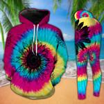 Sunflower Tie Dye Legging And Hoodie Set