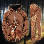 Brown Deer Pattern Legging and Hoodie Set