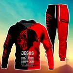 Jesus Is My God Black And Red Hoodie Set