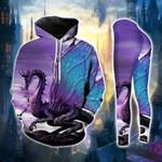 Purple Blue Wings Dragon Legging and Hoodie Set