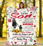 To My Son - Son & Christmas sherpa When you feel overwhelmed - Fleece Blanket C01