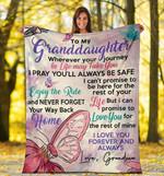 To My Granddaughter Pastel Butterfly Grandma Fleece Blanket