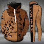 Never Walk Alone Horse And Dog Footprints Hoodie and Legging Set