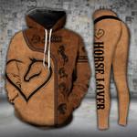 Horse Lover Heart Brown Legging and Hoodie Set