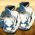 Deer Heart Antler Blue Tree Couple Hoodies