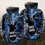 Buck Doe Deer Dark Blue Couple Hoodies
