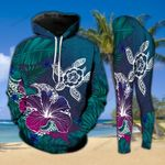 Turtle And Flower Under The Sea Hoodie and Legging Set