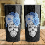 Cerulean Blue Skull Flower Tumbler