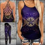 Witch Gold Triple Moon Criss-cross Tanktop and Legging set