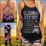 Jeep Girl 5 Things Purple Criss-cross Tanktop and Legging set