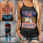 Blue Star Leopard Black Criss-cross Tanktop and Legging set (buy both for 10% discount)