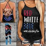 Red White And Blue Skull Criss-cross Tanktop and Legging set (buy both for 10% discount)