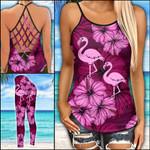 Flamingo Pink Criss-cross Tanktop and Legging set (buy both for 10% discount)