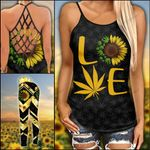 Weed Sunflower Criss-cross Tanktop and Legging set (buy both for 10% discount)