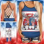 Gnome Blue Red Stars Criss-cross Tanktop and Legging set (buy both for 10% discount)