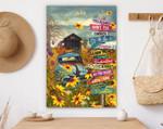 Sunflower Car Positive Vibe Canvas & Poster