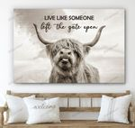 Highland Cow Gate Open Canvas & Poster