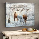 3 Horses By The Lake Canvas & Poster