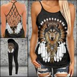 Wolf Dreamcatcher Criss-cross Tanktop and Legging set (buy both for 10% discount)