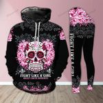 Skull Fight Like A Girl Pink Awareness Legging and Hoodie Set