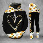 Mom Heart Drawn Sunflower Legging and Hoodie Set